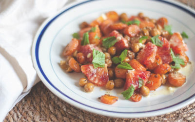 Fennel Roasted Carrot & Chickpea Salad with Orange & Mint