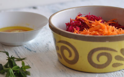 Beetroot & Carrot Salad with a Ginger dressing (Raw)