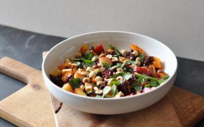Black Rice & Stone fruit Salad with Halloumi